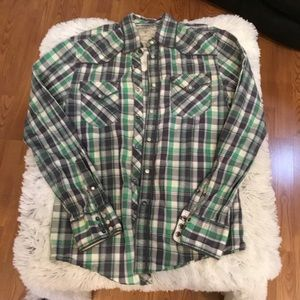🎈🎈 Mens Guess XS plaid snap casual shirt